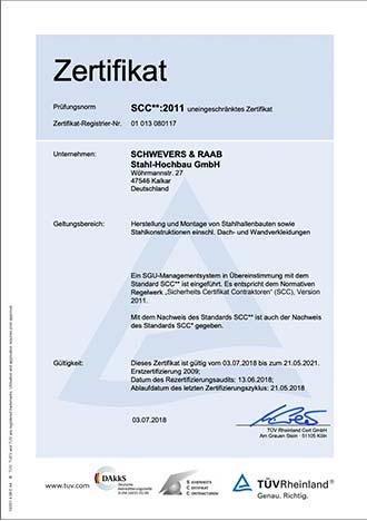 SCHWEVERS & RAAB Zertifikat